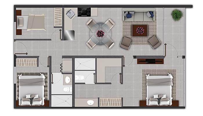 Plando Apartamento de 3 habitaciones