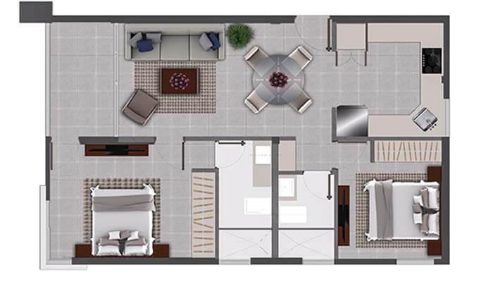 Plano Apartamento de 2 habitaciones